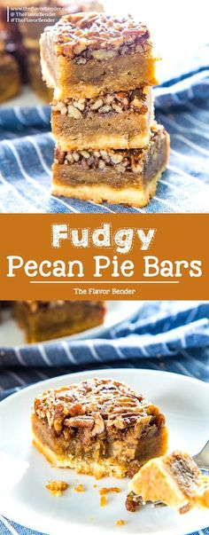 Fudgy Pecan Pie Bars – The Flavor Bender Fudgy Pecan Pie Bars – Classic Pecan pie, but as a bar or slice! A buttery shortbread crust and a fudgy flavorful pecan pie layer. A fantastic and easy dessert for Thanksgiving! Best Dessert Recipes, Fun Desserts, Fall Recipes, Delicious Desserts, Dinner Recipes, Drink Recipes, Pasta Recipes, Crockpot Recipes, Soup Recipes