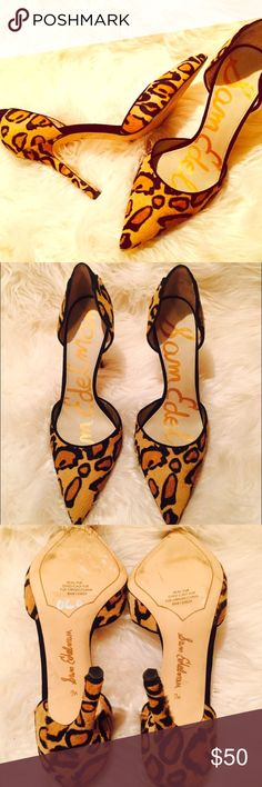 Sam Edelman Heels Brand New • Real Fur Leopard Print Heels by Sam Edelman • Some markings on bottom of shoe from store •No box included Sam Edelman Shoes Heels