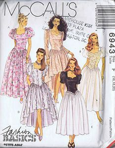 """MISSES DRESS IN TWO LENGTHS    PATTERN NUMBER 6943     McCall's Pattern Company -- Copyright Modern     SIZES 16-20 BUST 38-42 WAIST 30-34 HIP 40-44""""    McCall's Pattern  Pattern Number 6943  Copyright: Modern    Misses Dress Pattern in Two Lengths"""