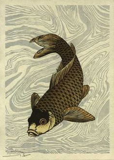 "David Bull's 'Hanga Treasure Chest' Series: Print #7: ""Swimming Carp"" Hokusai (?)."