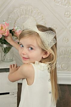 Rustic Flower Girl Headband - Ivory Hair Bow - Flower Girl Hair Piece - Couture Headpiece - Derby Fascinator - Over The Top - French Clip