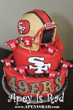Sensational 24 Best Sf 49Er Cakes Images 49Ers Cake Cupcake Cakes Yummy Sweets Funny Birthday Cards Online Overcheapnameinfo