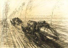 "Illustration by Frederick Gordon-Crosby - ""1912 Grand Prix de Dieppe"" — Oil&Ink"