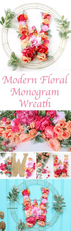 Modern Floral Wreath // DIY It - A Modern Floral Monogram Wreath - Craft a DIY Floral Monogram Wreath for Spring or Summer using gold spray paint and faux flowers from the craft store.
