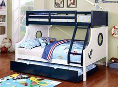 Marina Nautical Blue White Twin Full Bunk Bed