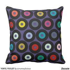 VINYL VIOLET THROW PILLOWS #zazzle #pillow #cushion #purple #vinyl #record #retro #kids #hipster