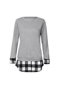 Round Neck Plaid Splice T-shirt Little Girls Coats, Plaid, Sweatshirts, Sweaters, T Shirt, Fashion, Gingham, Supreme T Shirt, Moda