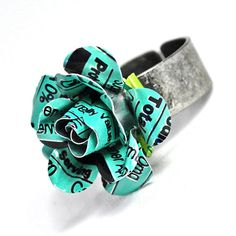 Recycled Jewelry Aqua Rose Ring From Upcycled Aluminum by wearwolf