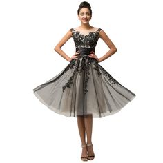 Mid Calf Cap Sleeve Tulle Evening dress 2017 Black Appliques Party Gown Formal Dress Robe De Soiree Mother of the Bride dresses