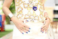 Catwalk Show. Yellow + royal blue. Nail trend.
