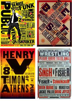 She remixes influences from Constructivism, Dada, Futurism, the Bauhaus, even the lowbrow vernacular typographic style of classic boxing posters — see how seamlessly the latter fits in with three Scher-designed posters Paula Scher, Retro Graphic Design, Graphic Design Posters, Boxing Posters, Type Posters, Typographic Poster, Communication Design, Design Reference, Letterpress
