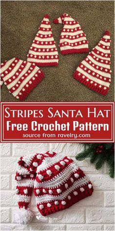 Crochet Christmas Hats, Crochet Santa Hat, Christmas Tree Hat, Easy Crochet Hat, Christmas Crochet Patterns, Holiday Crochet, Crochet Blanket Patterns, Crochet Projects, Yarn Projects