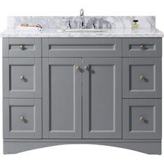 """Elise 48"""" Single Bathroom Vanity Cabinet Set in Grey"""