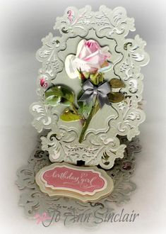 Easel card, made with the Delightful Foliage die from Spellbinders. Flower and sentiment are from Anna Griffin. Happy Birthday, Girl Birthday, Birthday Cards, Fancy Fold Cards, Folded Cards, Handmade Stationary, Pop Out Cards, Side Step Card, Anna Griffin Cards