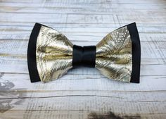 Men's bow tie black and gold   formal men's by KristineBridal