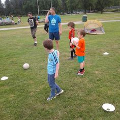 mo mhac (green shorts) playing Gaelic football with #isscvancouver #gaa