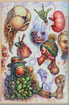 Strange creepy little friends original drawing by ojimbo by ojimbo, $290.00