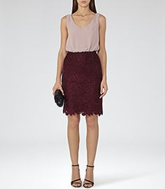 Womens Nude/claret Lace-skirt Dress - Reiss Rose