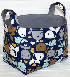 Storage Basket Fabric Bin Organizer Container - Whales
