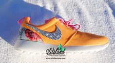 Blinged Mango & White Girls' / Women's Nike Roshe Run w/ Floral Print Heel w/ Swarovski Crystals