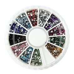 2000PCS 12-Color de uñas de diamante de 1,5 mm Circular decoraciones del arte - USD $ 2.99