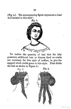 "1862, The Handbook for Ladies' Maids, and Guide to the Toilette. Instructions for creating hairstyles using false hair (""frizettes"") and other accessories. [jrb]"
