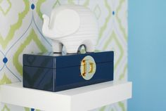 Lime Green and Pool Blue Nursery Accents - love the ceramic animal from @Jonathan Adler! #nursery #preppy