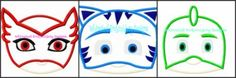 PJ Masks Face Set  Machine Embroidery APPLIQUE GET INSTANT  DOWNLOAD RIGHT HERE