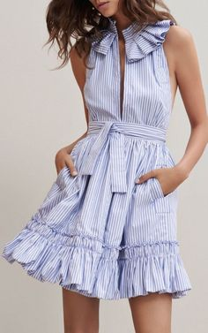 clothing design on sale at reasonable prices, buy Blue Stripe Ruffle Trim Slit Front Sleeveless Skater Dress Women Sleeveless Stand Neck Tied Waist Novelty Design Casual Clothing from mobile site on Aliexpress Now! Fashion 2017, Look Fashion, Fashion Trends, Latest Fashion, Fashion Women, Fashion Bloggers, Fall Fashion, Fashion Websites, 80s Fashion