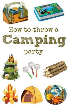 to throw a camping birthday party. Tons of games, decorations, and ideas that will make your camping party fun.How to throw a camping birthday party. Tons of games, decorations, and ideas that will make your camping party fun. Camping Party Foods, Camping Party Decorations, Camping Parties, Birthday Decorations, Unique Birthday Party Ideas, Birthday Party Games, Party Fun, Ideas Party, 4th Birthday