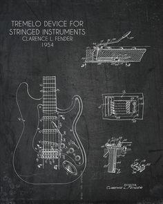 For Jerris maybe? Fender Tremolo Blueprint art print - multiple sizes available