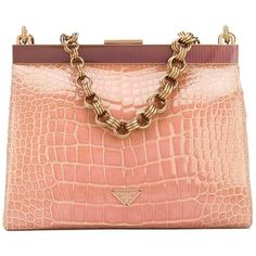 For Sale on - Fabulous Prada crocodile leather small handbag in peach pink  color with purple detail. It features a chain strap, a top magnetic closure  and ... 846a7bbc0a