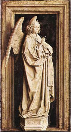 JAN VAN EYCK (1395-1441) - The Annunciation, detail - 1436/40. Museo Thyssen-Bornemisza,  Madrid, Spain.