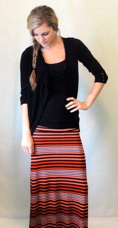 Striped Maxi Skirt, Women's Long Skirt, Coral and Black Stripes via @Etsy
