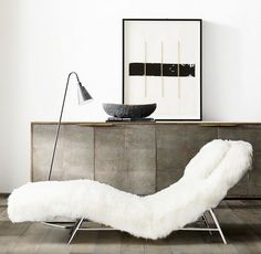 Modern living room with a fur chair