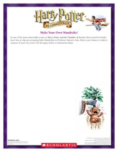 CRAFT: Make Your Own Mandrake! Download by clicking the image above! For more activities visit www.scholastic.com/hpread #HarryPotter #HPread