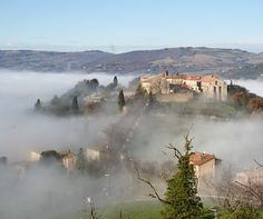countryside around Todi in the fog