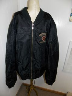 Harley Davidson Nylon Bomber Flight Jacket 2XL Big Logo Embroidery XXL