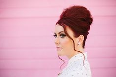 Retro beehive with a modern twist. A fun updo idea. #beehive #hairstyle #retro #fashion #updo #redhair #dressy