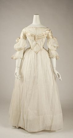 Evening Dress ca. 1840 American cotton, silk