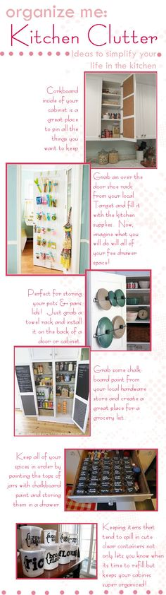 organize kitchen clutter! great tips