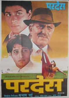 """Pardes This Shahrukh Khan, Amrish Puri and Mahima Chaudhrywas directed by showman Subhash Ghai.Music by Nadeem-Shravan had superlative songs like """"Meri Mehbooba"""", """"Yeh Dil Deewana"""" and my favourite song from this movie, """"Do Dil Mil Rahe Hain"""" Amrish Puri, Bollywood Posters, Full Movies Download, Hindi Movies, Shahrukh Khan, Film Posters, Musicals, Cinema"""