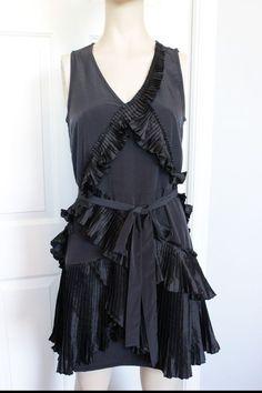 NWT - GAP Black Silky Polyester Pleated Ruffle Sleeveless V-Neck Dress Size 4 #GAP LBD