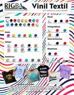 ¿Ya conoces toda la variedad de viniles textiles que Rigba flex tiene para ti? Textiles, Ideas, Adhesive, Innovative Products, Vinyls, Blue Nails, Fabrics, Textile Art