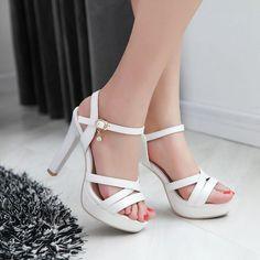 Women Ankle Straps Buckle Sandals Pumps Platform High-heeled Shoes