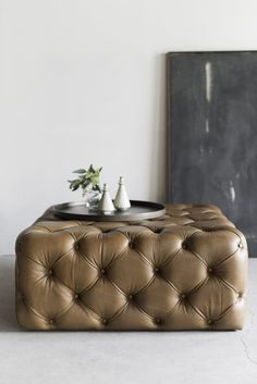 Cool stuff from LA by Croft House Burlap Ottoman, Tufted Ottoman Coffee Table, Tufted Leather Ottoman, Ottoman Decor, Ottoman Design, Ottoman In Living Room, Living Room Decor, Tuffed Ottoman, Pouf Cuir