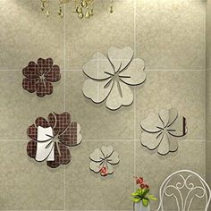 $5.61  - Oksale 3D Mirror 5 Flowers Wall Stickers Papers PVC Removable Bedroom Living Room Home Showcase Applique Mural Decor Decal * See this great product. (This is an affiliate link) #WallStickersMurals