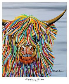 Big Malky McCoo - Limited Edition Print or Framed – Steven Brown Art. love, love, love this work. Canvas Artwork, Canvas Frame, Steven Brown Art, Steve Brown, Highland Cow Painting, Wall Art Prints, Canvas Prints, Wildlife Art, Limited Edition Prints