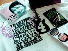 Rockstar Party swag bag ideas. Love the personlized music CD with birthday girl's face. Pop rocks will be a must.