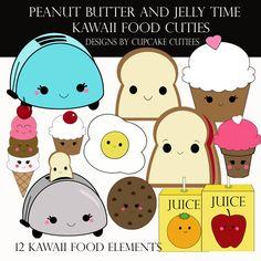 Peanut Butter Jelly Kawaii Food Elements